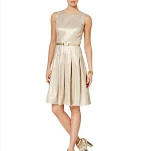 Tommy Hilfiger Metallic Belted Pleated Dress